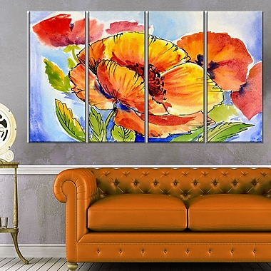 Bouquet of Full Blown Poppies Floral Metal Wall Art, 48x28, 4 Panels, (MT6243-271)