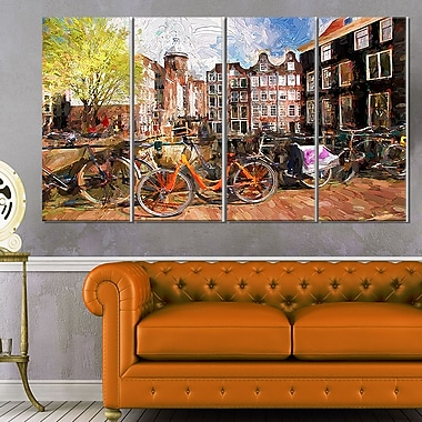 Amsterdam City Art,work Landscape Large Metal Wall Art, 48x28, 4 Panels, (MT6244-271)