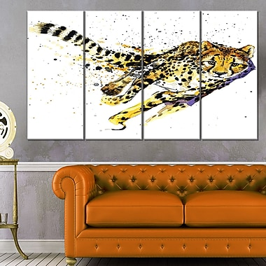 Cheetah Illustration Art,work Animal Metal Wall Art, 48x28, 4 Panels, (MT6245-271)