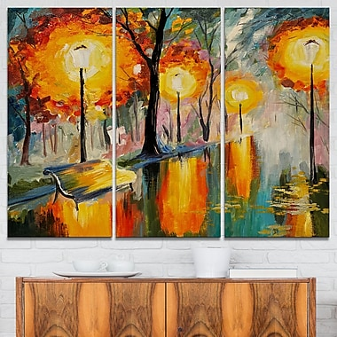 Street in Autumn Landscape Metal Wall Art, 36x28, 3 Panels, (MT6249-36-28)
