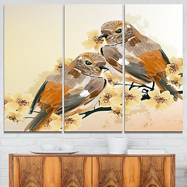 Bird Couple on a Branch Animal Metal Wall Art, 36x28, 3 Panels, (MT6251-36-28)