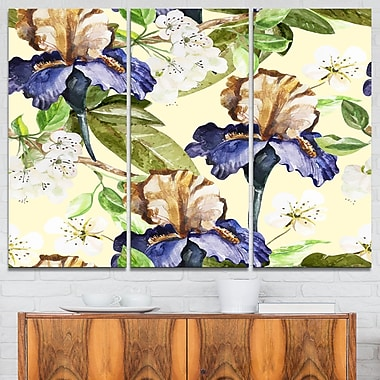 Seamless Flowers Vector Art, Floral Metal Wall Art, 36x28, 3 Panels, (MT6252-36-28)