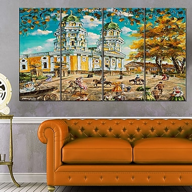 Old Church Landscape Metal Wall Art, 48x28, 4 Panels, (MT6253-271)