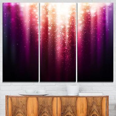 Art mural abstrait en métal, violet avec lumière magique, 36 x 28 po, 3 panneaux, (MT6254-36-28)