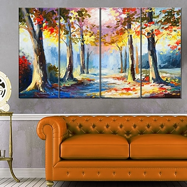 Colourful Spring Forest Landscape Metal Wall Art, 48x28, 4 Panels, (MT6255-271)