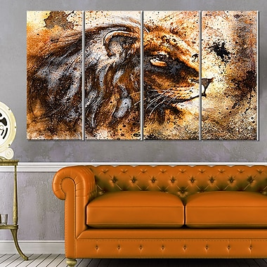 Lion Collage Animal Metal Wall Art, 48x28, 4 Panels, (MT6256-271)