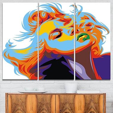 Blonde Girl Vector Metal Wall Art, 36x28, 3 Panels, (MT6257-36-28)
