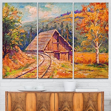 Railway Track in Village Landscape Metal Wall Art, 36x28, 3 Panels, (MT6265-36-28)