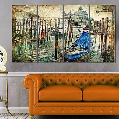 Art mural en métal, paysage, magnifique Venise, 48 x 28 po, 4 panneaux (MT6266-271)