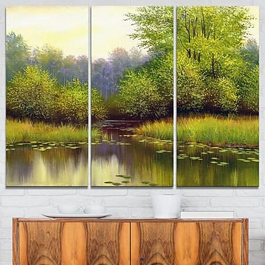 Green Summer with River Landscape Metal Wall Art, 36x28, 3 Panels, (MT6267-36-28)