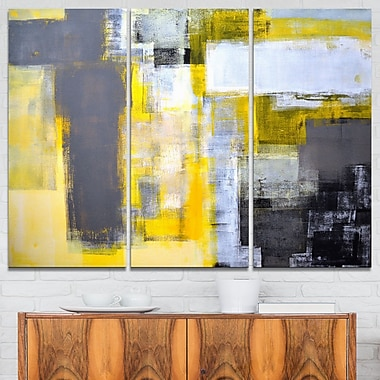 Grey and Yellow Blur Abstract Abstract Metal Wall Art, 36x28, 3 Panels, (MT6269-36-28)