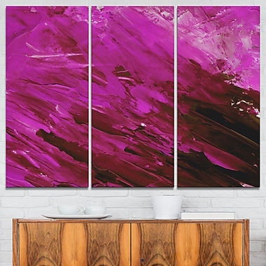 Abstract Magenta Pattern Abstract Metal Wall Art, 36x28, 3 Panels, (MT6270-36-28)