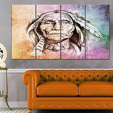Art mural en métal, portrait de tête d'amérindien, 48 x 28 po, 4 panneaux (MT6271-271)