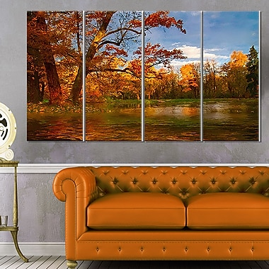Quiet and Silent Autumn Landscape Metal Wall Art, 48x28, 4 Panels, (MT6274-271)