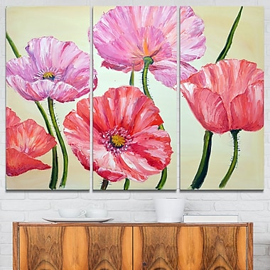 Red and Pink Poppies Floral Metal Wall Art, 36x28, 3 Panels, (MT6275-36-28)