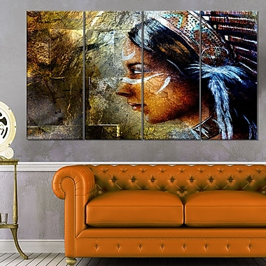 Indian Woman with Headdress Portrait Metal Wall Art, 48x28, 4 Panels, (MT6276-271)