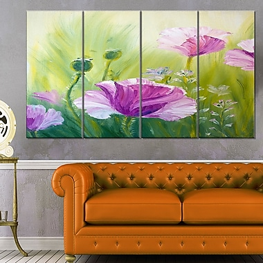 Purple Poppies in Morning Floral Metal Wall Art, 48x28, 4 Panels, (MT6277-271)
