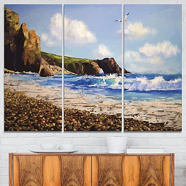 Sea with Seagull Landscape Metal Wall Art, 36x28, 3 Panels, (MT6281-36-28)