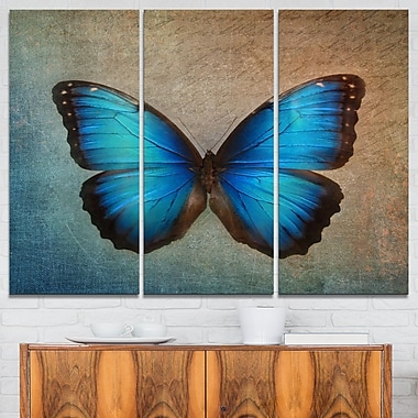 Blue Vintage Butterfly Floral Metal Wall Art, 36x28, 3 Panels, (MT6282-36-28)