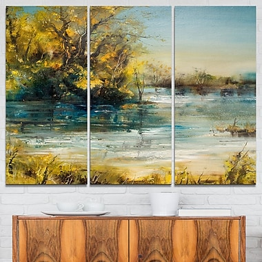 Trees by the Lake Landscape Metal Wall Art, 36x28, 3 Panels, (MT6283-36-28)