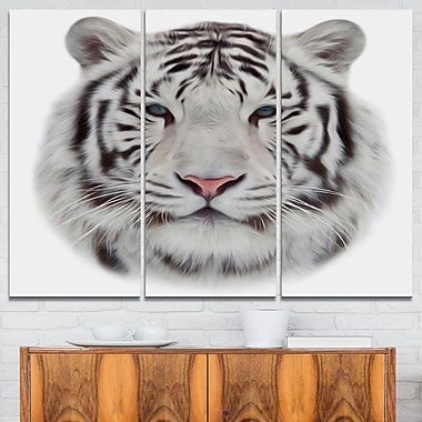 White Bengal Tiger Animal Metal Wall Art, 36x28, 3 Panels, (MT6285-36-28)
