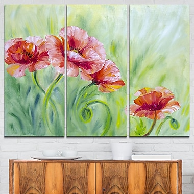 Pale Red Poppies Floral Metal Wall Art