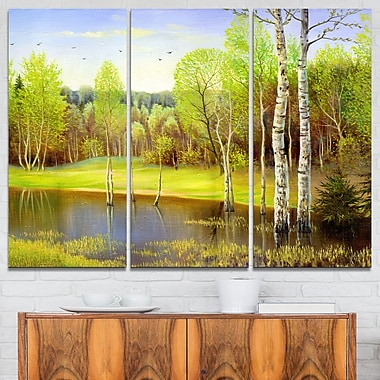 Light Green Autumn Landscape Metal Wall Art, 36x28, 3 Panels, (MT6287-36-28)