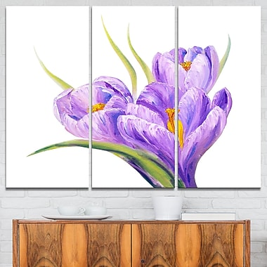Crocuses in White Background Floral Metal Wall Art, 36x28, 3 Panels, (MT6288-36-28)