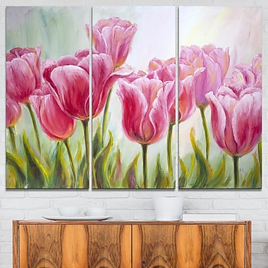 Tulips in a Row Floral Metal Wall Art, 36x28, 3 Panels, (MT6291-36-28)