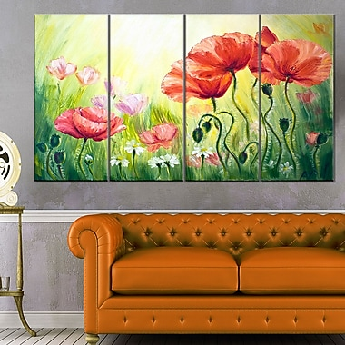 Poppies in Morning Floral Metal Wall Art, 48x28, 4 Panels, (MT6293-271)