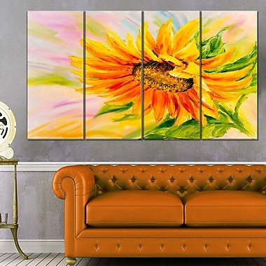Sunflower Oil Painting Floral Metal Wall Art, 48x28, 4 Panels, (MT6295-271)