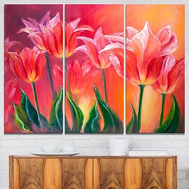 Tulips in Red Shade Floral Metal Wall Art, 36x28, 3 Panels, (MT6296-36-28)