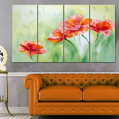 Poppies in Light Green Floral Metal Wall Art