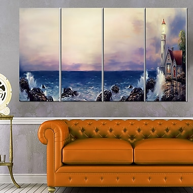 Lighthouse Sea Panoramic Landscape Metal Wall Art, 48x28, 4 Panels, (MT6298-271)
