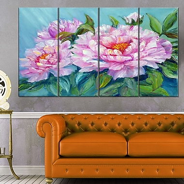 Pink Peonies Floral Metal Wall Art, 48x28, 4 Panels, (MT6301-271)