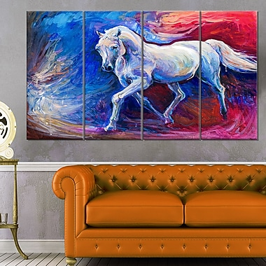 Blue Horse Animal Metal Wall Art, 48x28, 4 Panels, (MT6302-271)