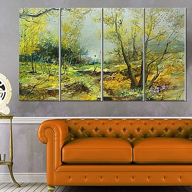 Green Yellow Forest Landscape Metal Wall Art
