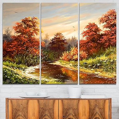 The Red River Landscape Metal Wall Art, 36x28, 3 Panels, (MT6307-36-28)