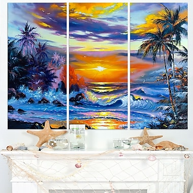 Sea in the Evening Landscape Metal Wall Art, 36x28, 3 Panels, (MT6310-36-28)