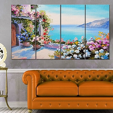 Sea and Flowers Landscape Metal Wall Art, 48x28, 4 Panels, (MT6313-271)