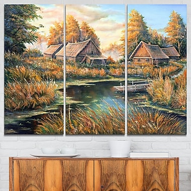 Birches in Autumn Village Landscape Metal Wall Art, 36x28, 3 Panels, (MT6317-36-28)