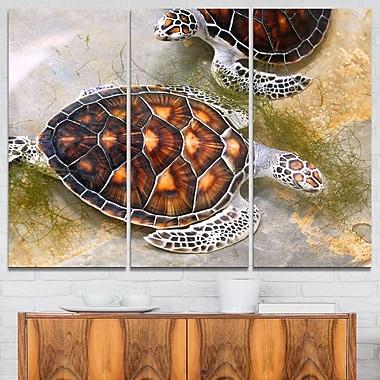 Art mural en métal d'animal, tortues de mer dans une crèche, 36 x 28 po, 3 panneaux (MT6319-36-28)