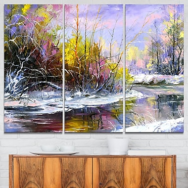 Autumn River Landscape Metal Wall Art, 36x28, 3 Panels, (MT6329-36-28)