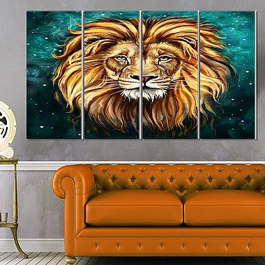 Lion Head in Blue, art mural animal en métal, 48 x 28, 4 panneaux (MT6331-271)
