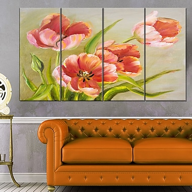 Vintage Red Tulips Floral Metal Wall Art