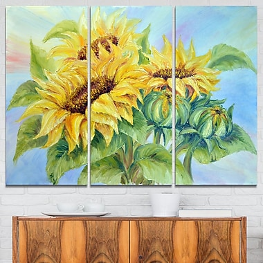 Three Sunflowers Floral Metal Wall Art, 36x28, 3 Panels, (MT6339-36-28)