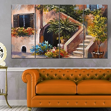 Summer Terrace Landscape Metal Wall Art, 48x28, 4 Panels, (MT6342-271)