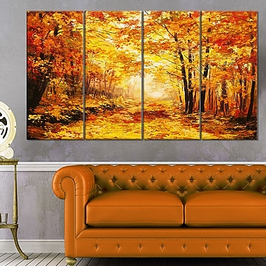 Yellow Autumn Forest Landscape Metal Wall Art, 48x28, 4 Panels, (MT6343-271)