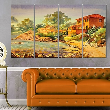 French Riviera Landscape Metal Wall Art, 48x28, 4 Panels, (MT6351-271)