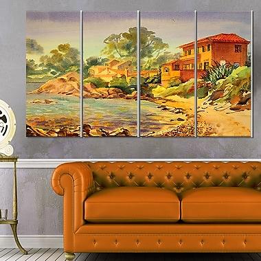 Art mural en métal, paysage, Côte d'Azur, 48 x 28 po, 4 panneaux (MT6351-271)